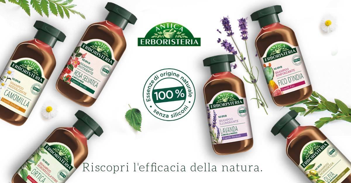 Risultati immagini per nuova linea di shampoo Antica Erboristeria,